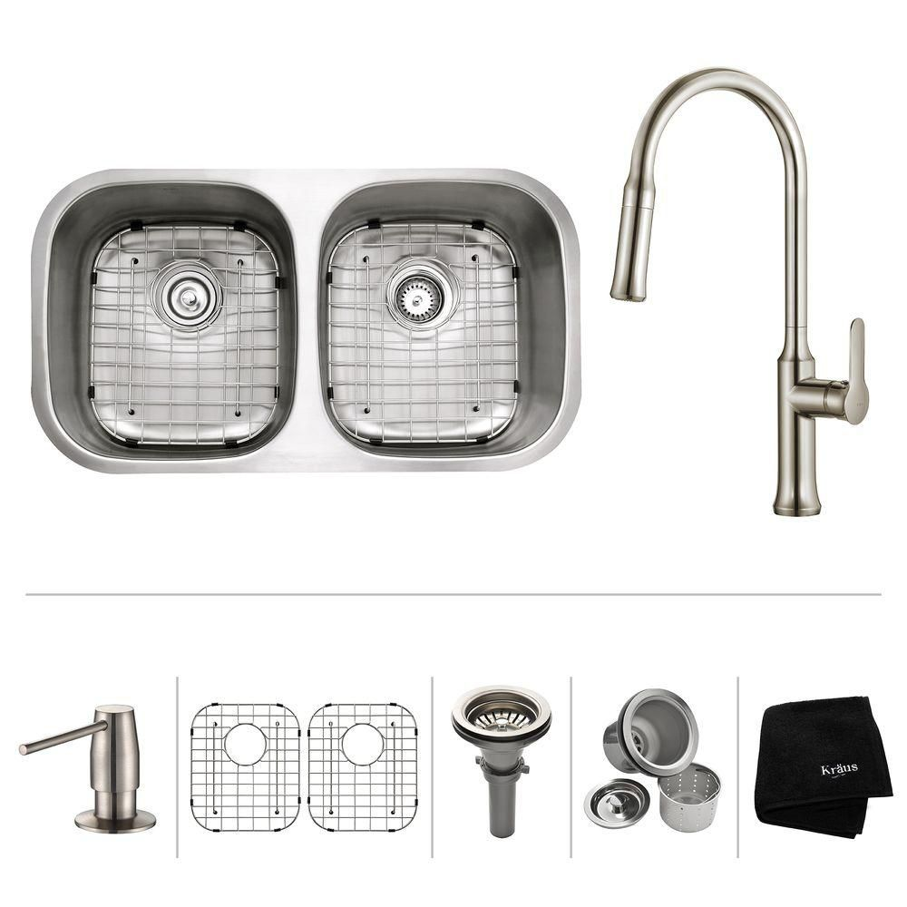 32 Inch.  Undermount 50/50 Double Bowl SS Sink W Pull Down Faucet Stainless Steel