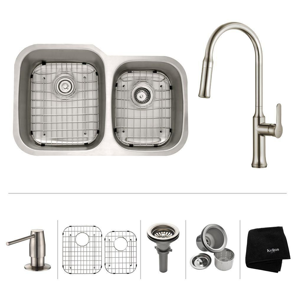 32 Inch.  Undermount 60/40 Double Bowl SS Sink W Pull Down Faucet Stainless Steel