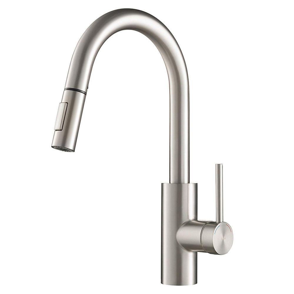 Kraus Mateo Single Lever Pull Down Kitchen Faucet in Stainless Steel