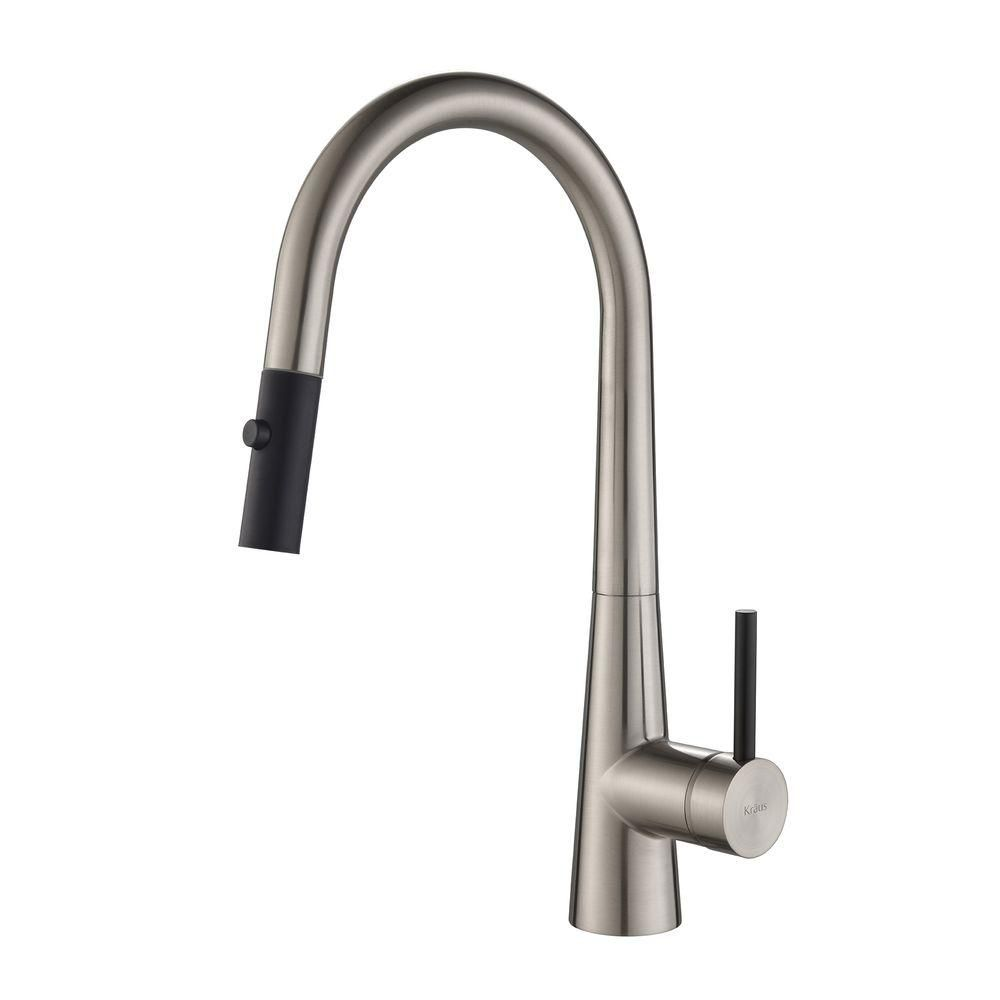 CrespoSingle Lever Pull Down Kitchen Faucet Stainless Steel