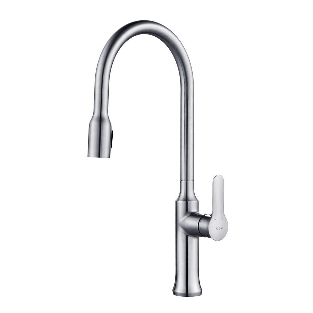 Kraus Premium Chrome  Handle Pull Down Kitchen Faucet