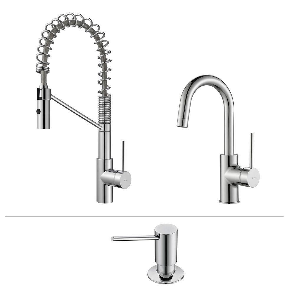 Mateo Commercial Style Kitchen Faucet W Bar/Prep Faucet & SD