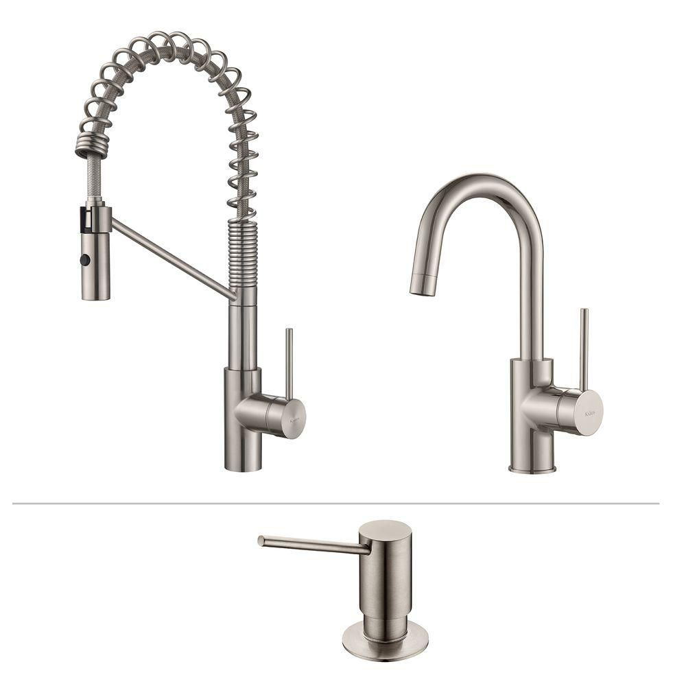 Mateo Commercial Style Kitchen Faucet W Bar/Prep Faucet & SD Stainless Steel