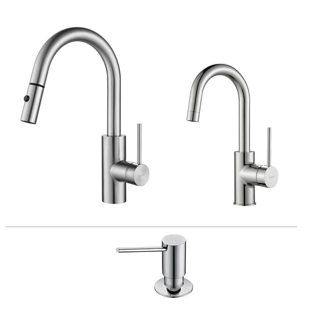 Kraus Mateo Pull Down Kitchen Faucet With Bar/Prep Faucet & SD