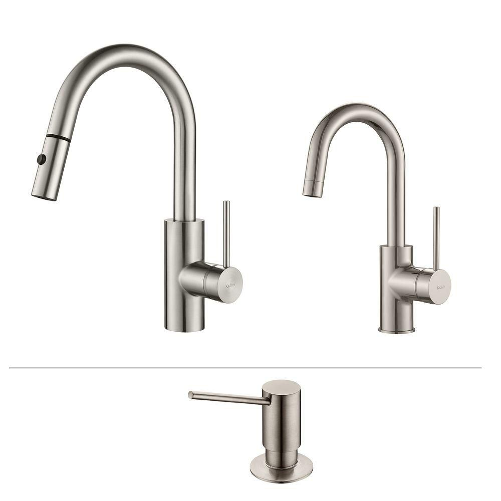 Mateo Pull Down Kitchen Faucet With Bar/Prep Faucet & SD Stainless Steel KPF-2620-2600-41SS Canada Discount