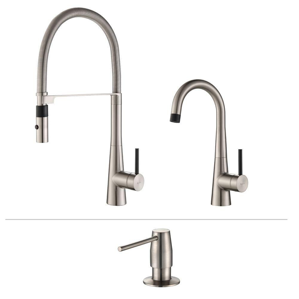 Crespo Flex Commercial Style Kitchen & Bar/Prep Faucet W/ SD Stainless Steel