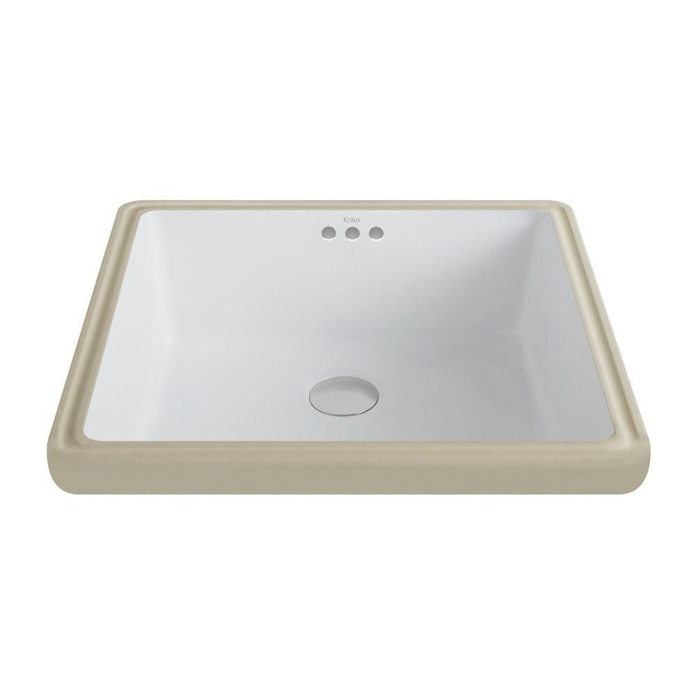 Kraus Elavo Ceramic Square Undermount Bathroom Sink with Overflow in White