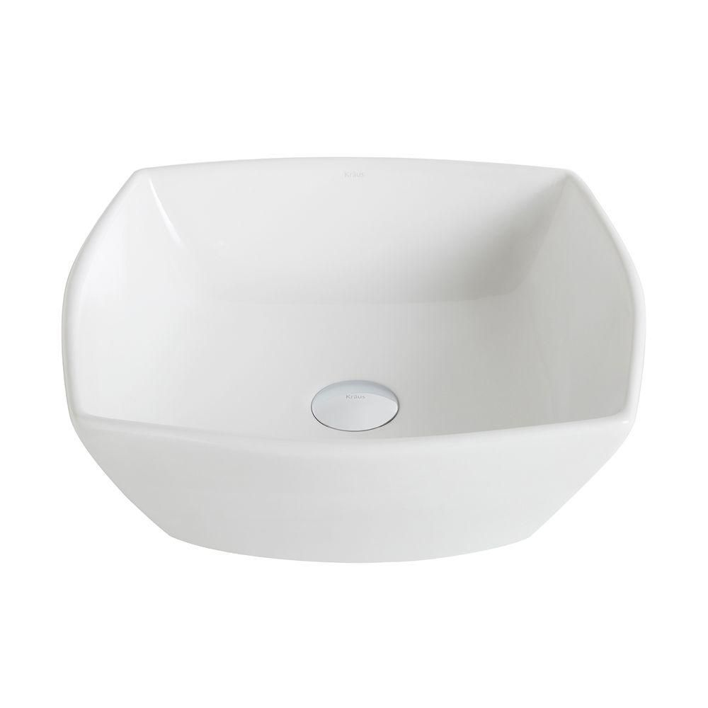 Kraus ElavoWhite 16.50-inch x 6.60-inch x 16.50-inch Square Ceramic Bathroom Sink
