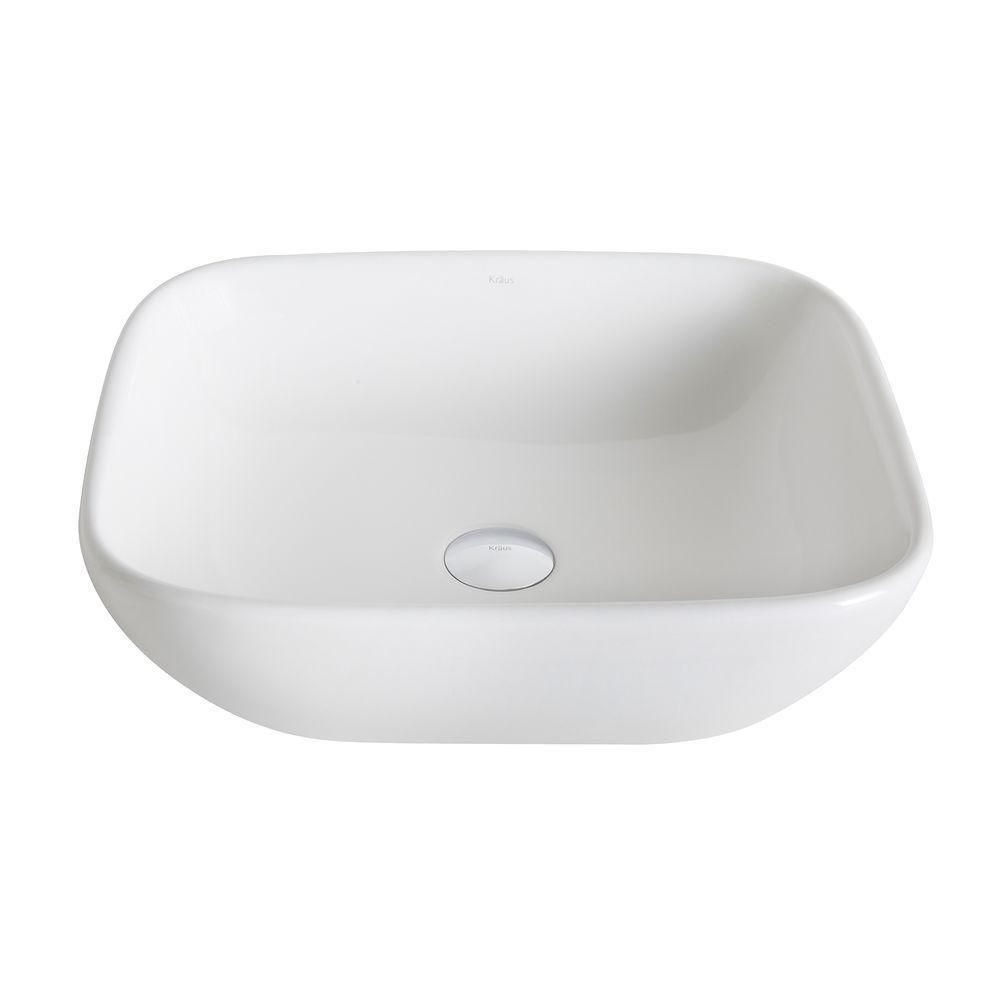 ElavoWhite 16.10-inch x 5.50-inch x 18.10-inch Square Ceramic Bathroom Sink