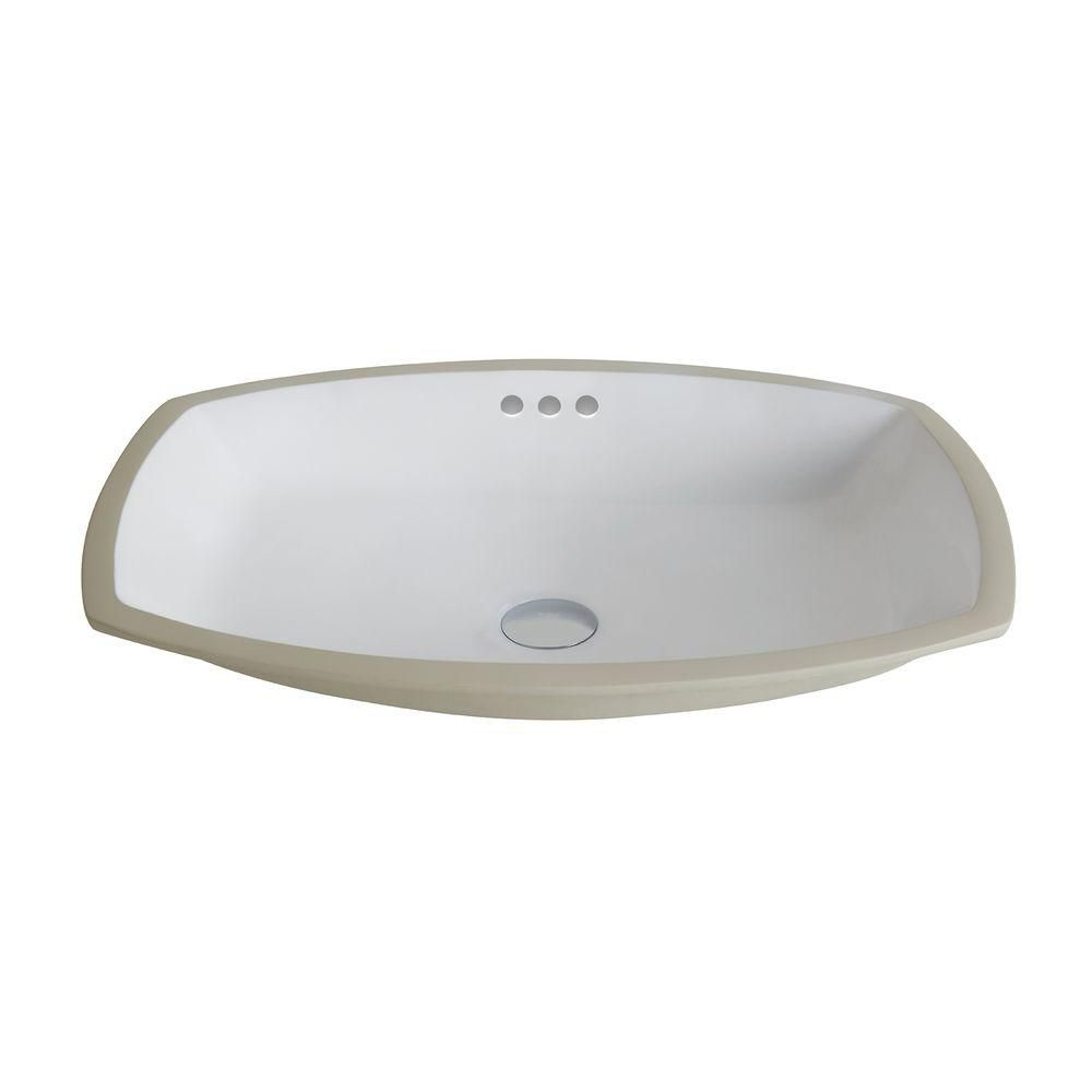 Elavo Flared Ceramic Rectangular Undermount Bathroom Sink with Overflow in White