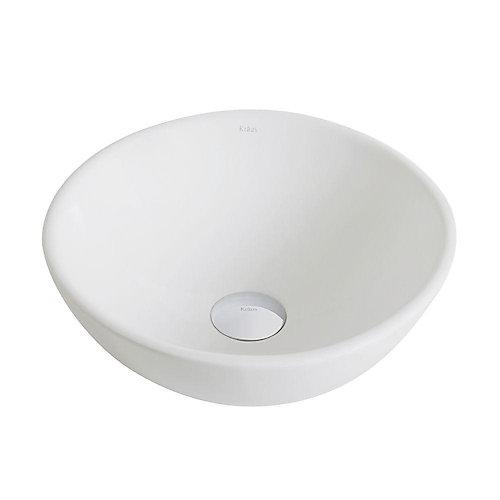 Kraus Petite vasque salle de bains ronde céramique blanche Elavo