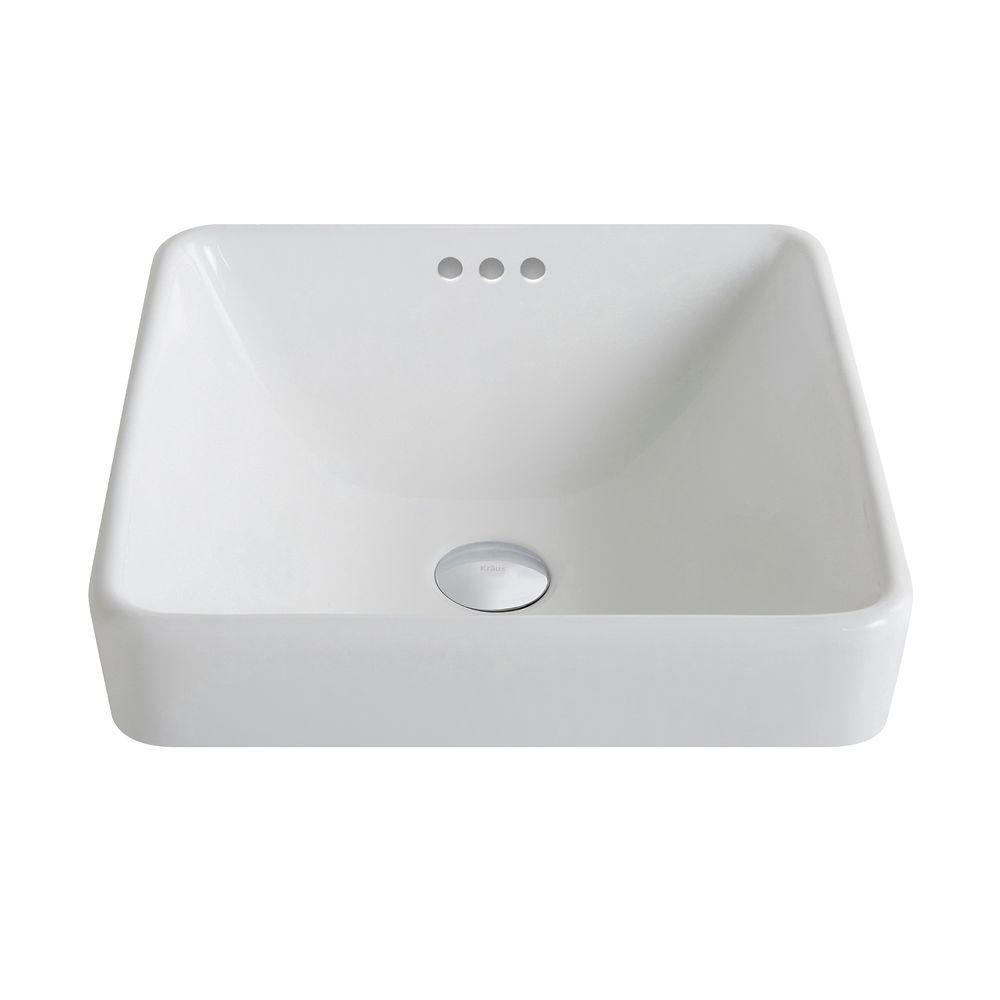 ElavoWhite Ceramic Square Semi-Recessed Vessel Sink with Overflow