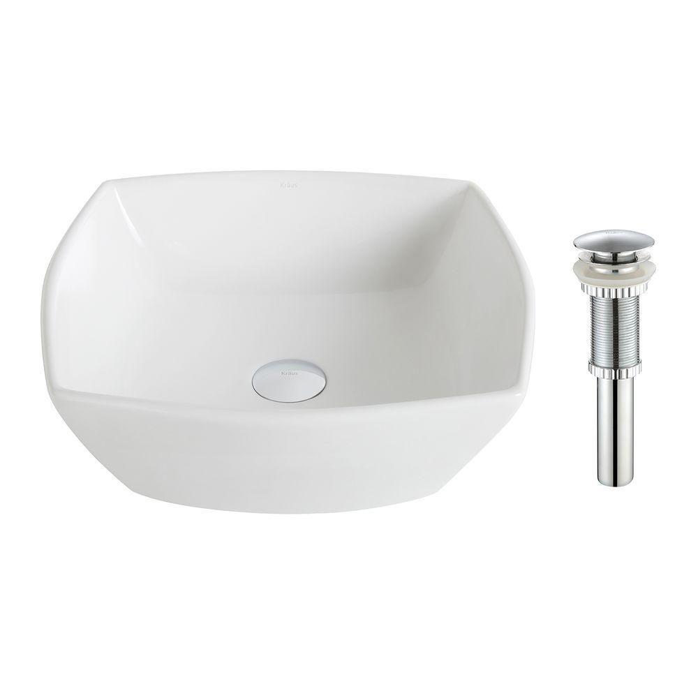 Lavabo céramique blanc carré évasé Elavo�avec drain en argent doré