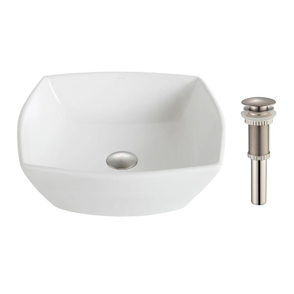 Lavabo céramique blanc carré évasé Elavo�avec drain en argent brossé