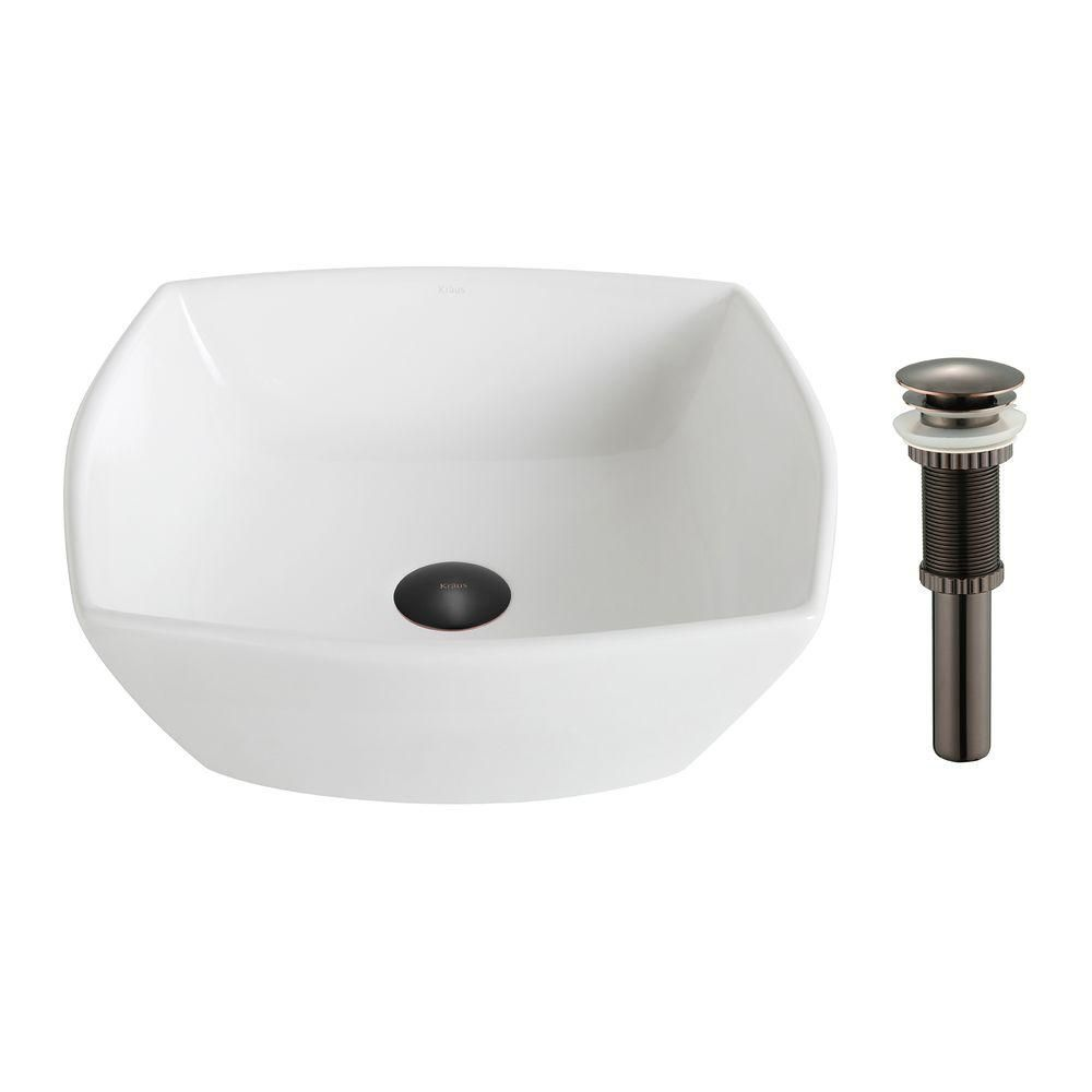 ElavoWhite Ceramic Flared Square Vessel Sink with Drain in Oil-Rubbed Bronze