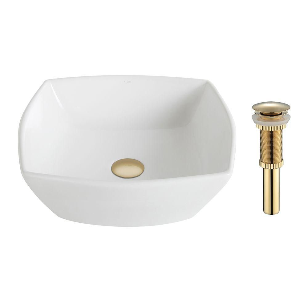 ElavoWhite Ceramic Flared Square Vessel Sink with Drain in Gold