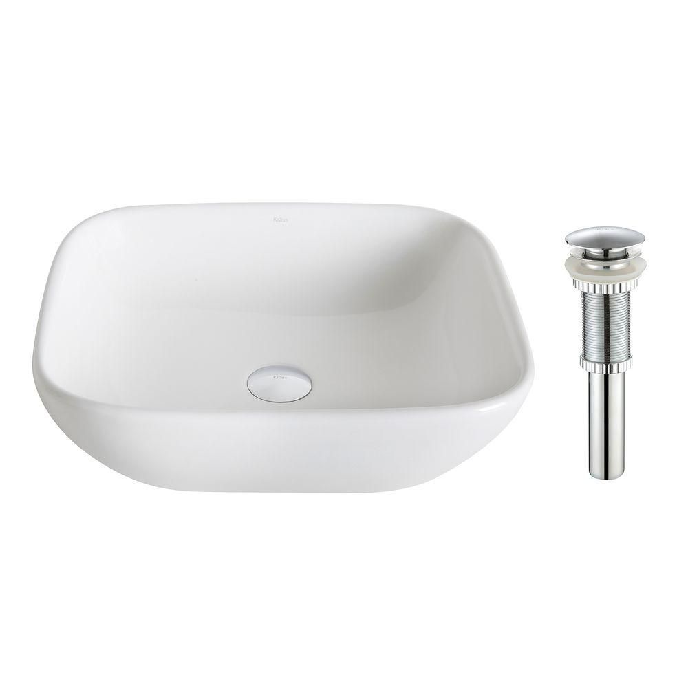 Kraus ElavoWhite 16.10-inch x 5.50-inch x 18.10-inch Square Ceramic Bathroom Sink with Drain in Chrome