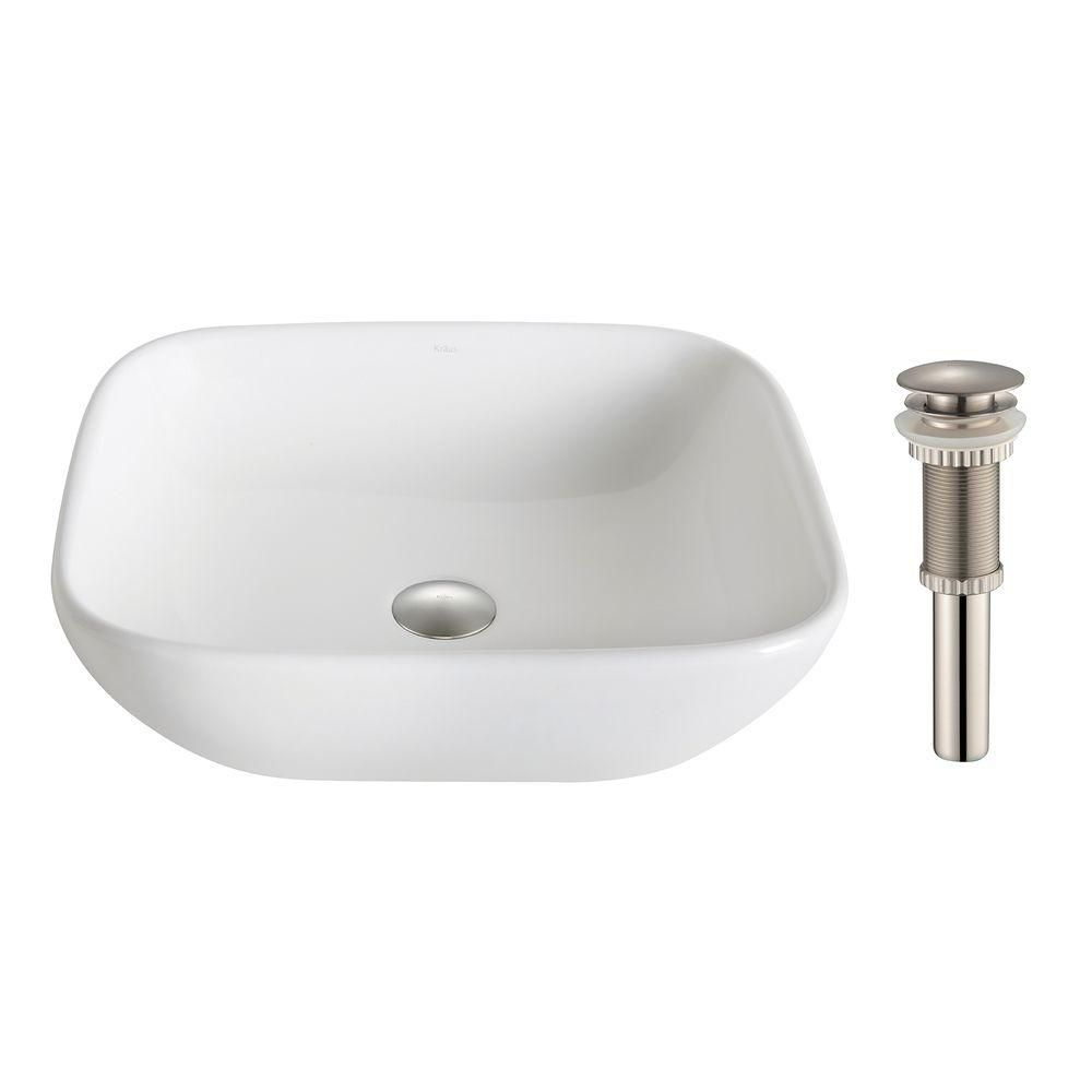 Kraus ElavoWhite 16.10-inch x 5.50-inch x 18.10-inch Square Ceramic Bathroom Sink with Drain