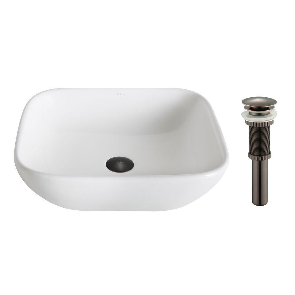 ElavoWhite Ceramic Soft Square Vessel Sink with Drain in Oil-Rubbed Bronze