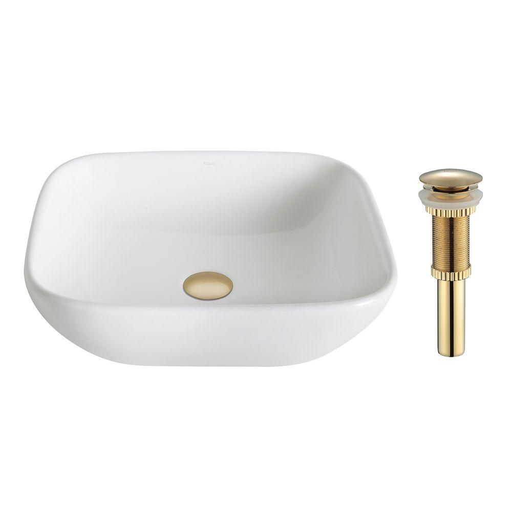 ElavoWhite Ceramic Soft Square Vessel Sink with Drain in Gold