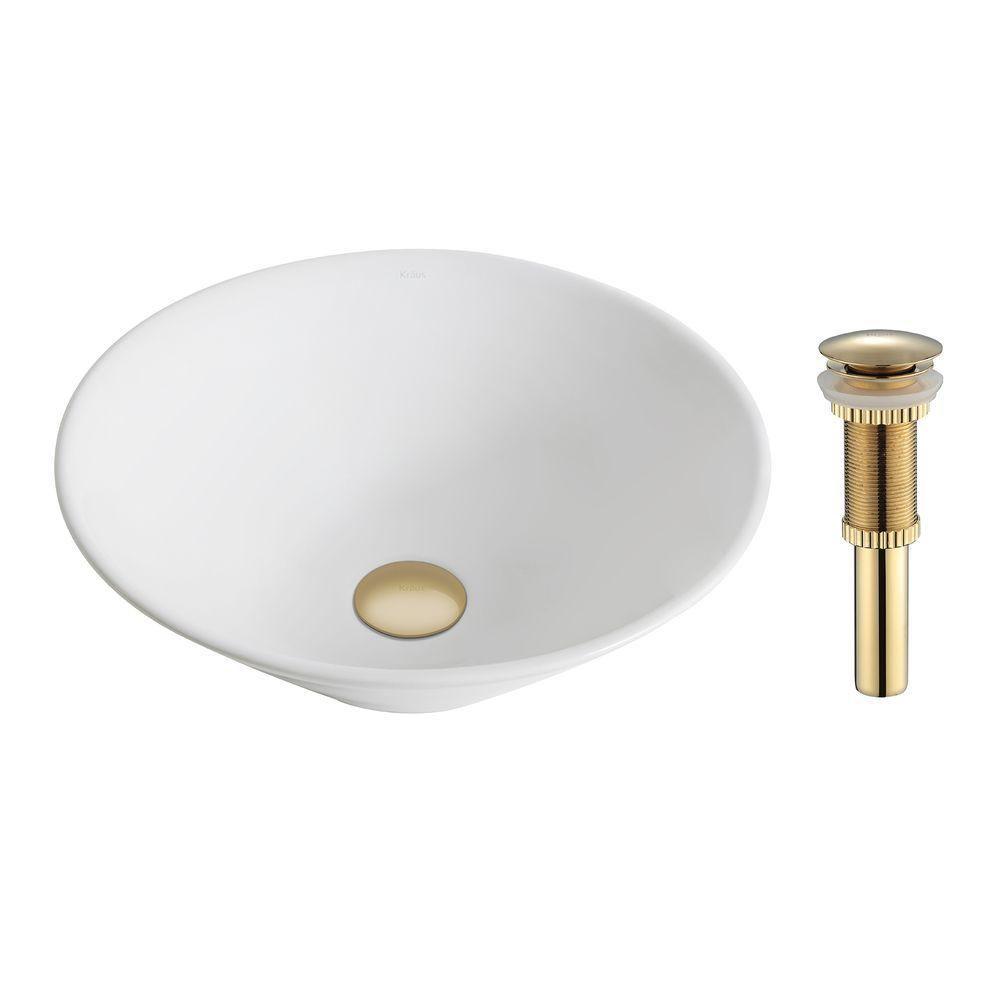ElavoWhite Ceramic Round Vessel Sink with Drain in Gold