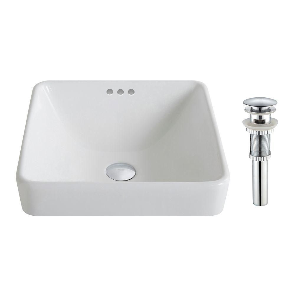 ElavoWhite Ceramic Square Semi-Recessed Vessel Sink with Overflow & Drain in Chrome