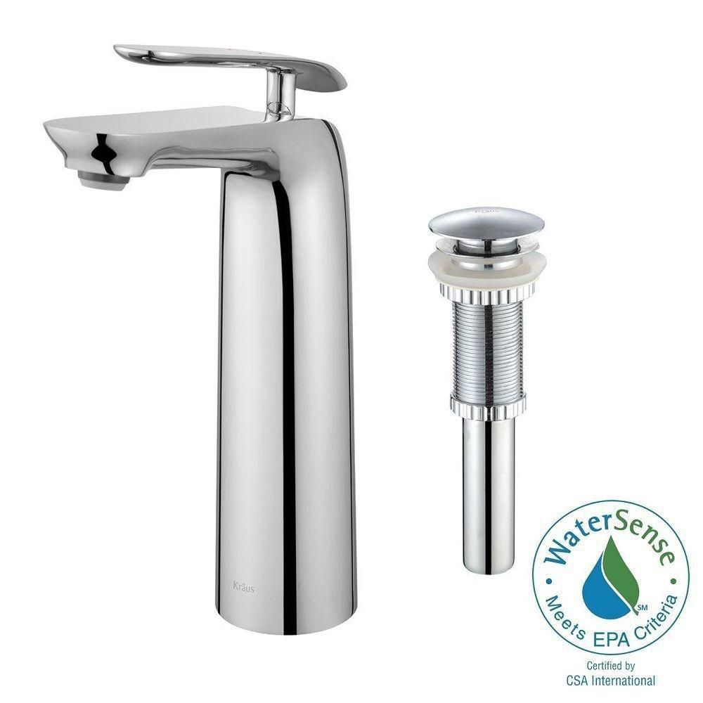 Seda Single-Lever Vessel Bathroom Faucet with Matching Pop-Up Drain in Chrome Finish