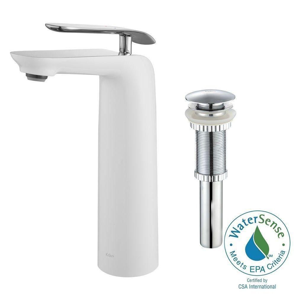Seda Single-Lever Vessel Bathroom Faucet with Matching Pop-Up Drain Chrome-White Finish