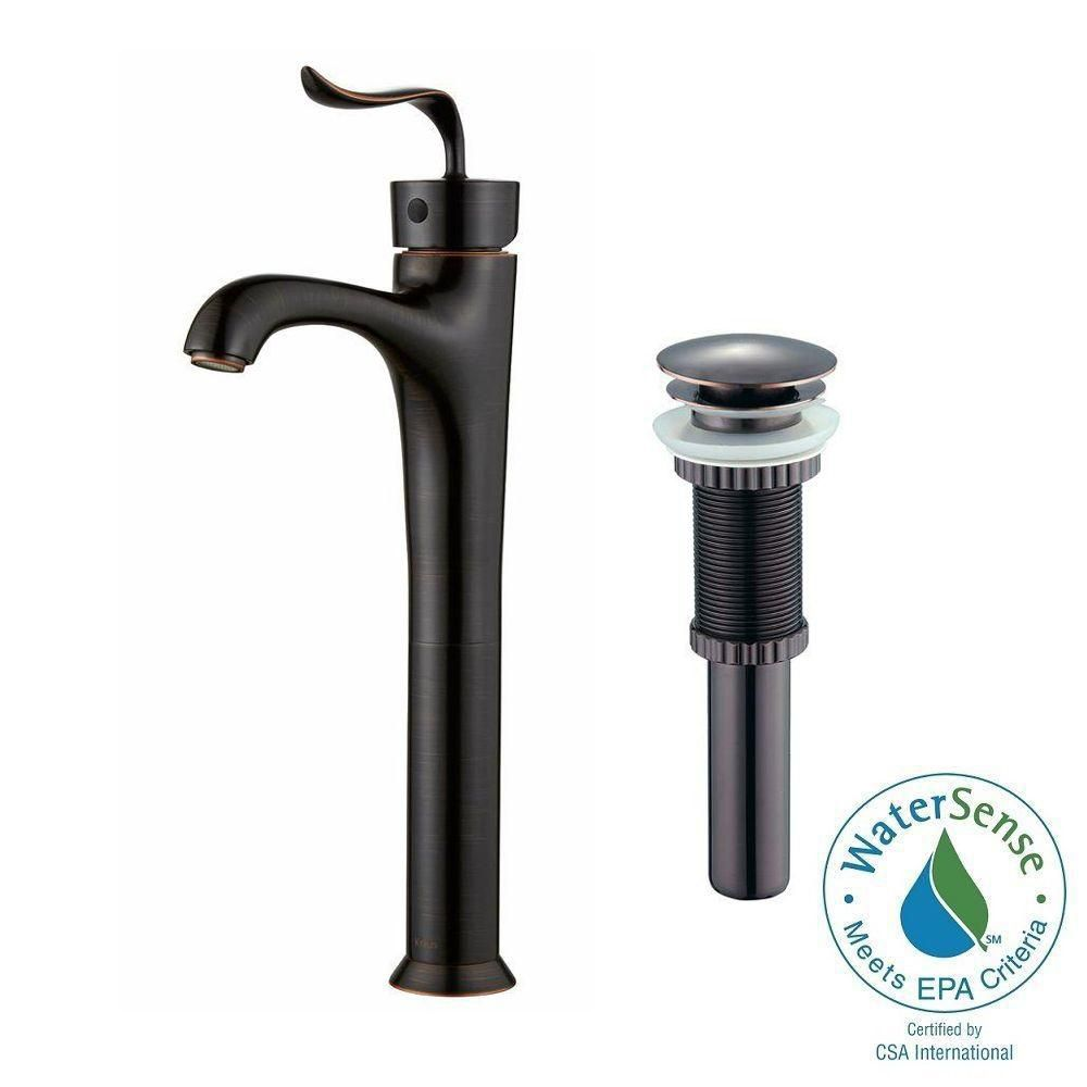 Coda Single-Lever Vessel Bathroom Faucet with Matching Pop-Up Drain in Oil Rubbed Bronze Finish