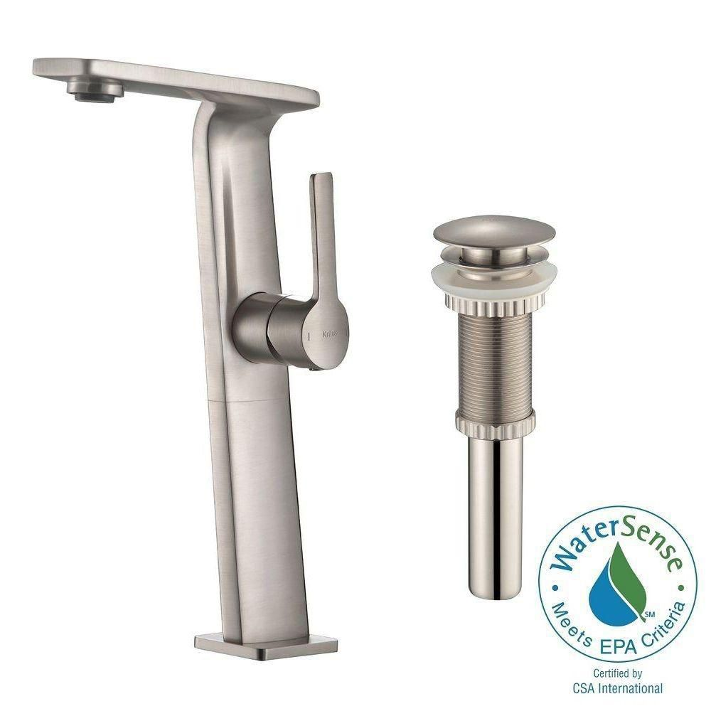 Novus Single-Lever Vessel Bathroom Faucet with Matching Pop-Up Drain in Brushed Nickel Finish