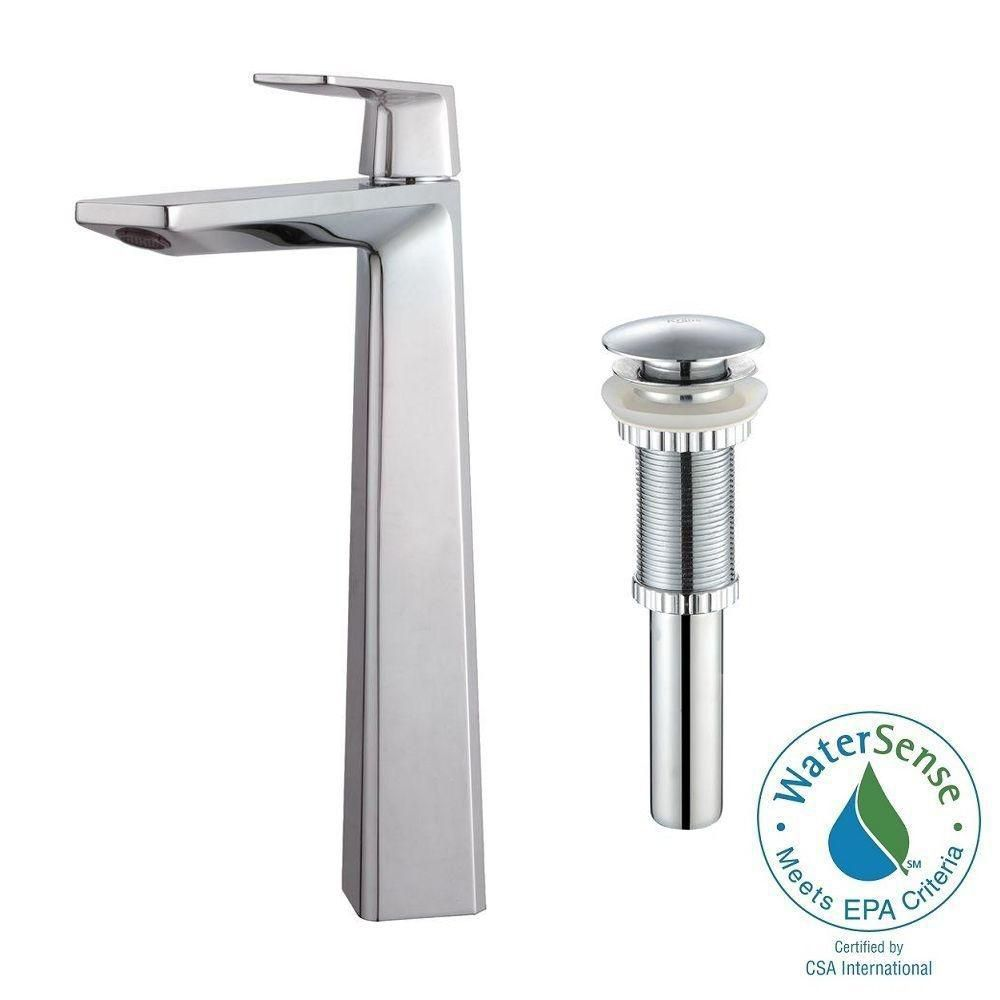 Aplos Single-Lever Vessel Bathroom Faucet with Matching Pop-Up Drain in Chrome Finish