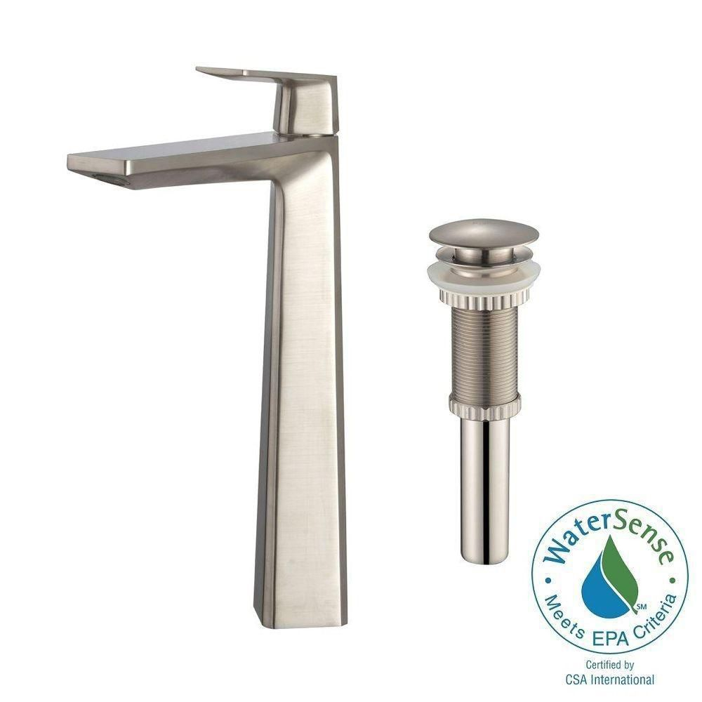 Aplos Single-Lever Vessel Bathroom Faucet with Matching Pop-Up Drain in Brushed Nickel Finish