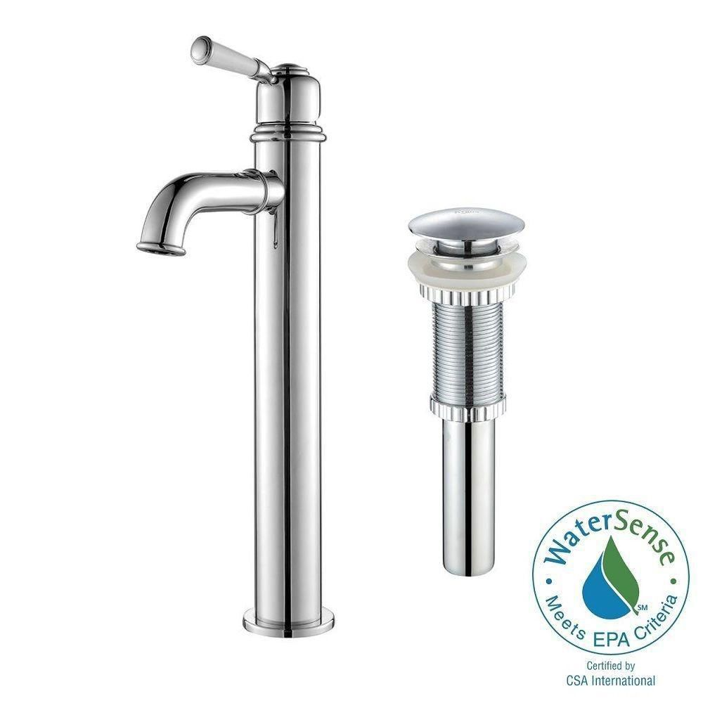 Solinder Single-Lever Vessel Bathroom Faucet with Matching Pop-Up Drain in Chrome Finish