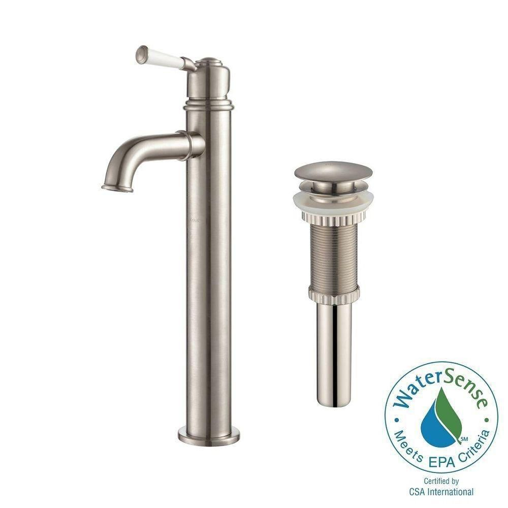 Solinder Single-Lever Vessel Bathroom Faucet with Matching Pop-Up Drain in Brushed Nickel Finish