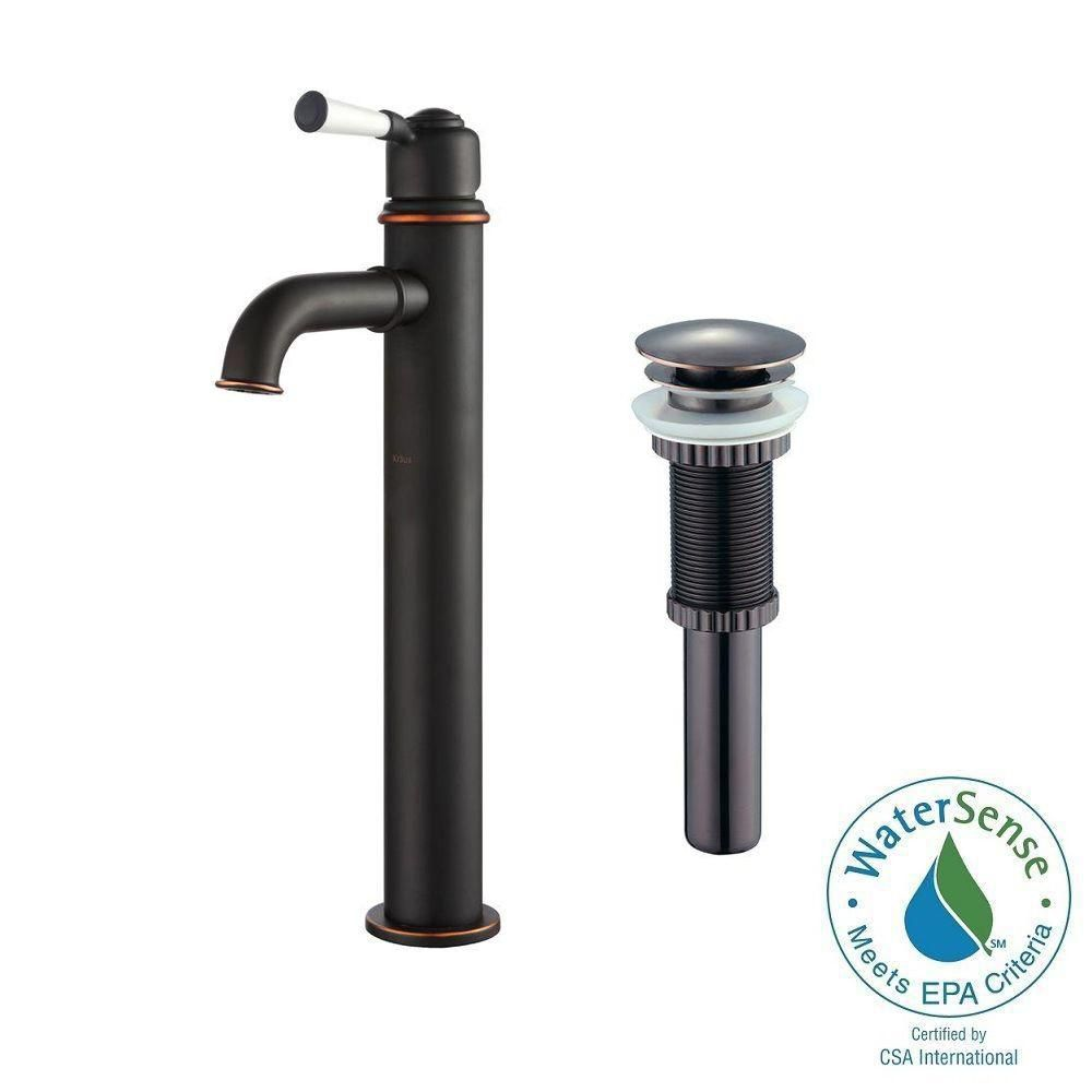 Solinder Bathroom Faucet with Matching Pop-Up Drain in Oil Rubbed Bronze Finish