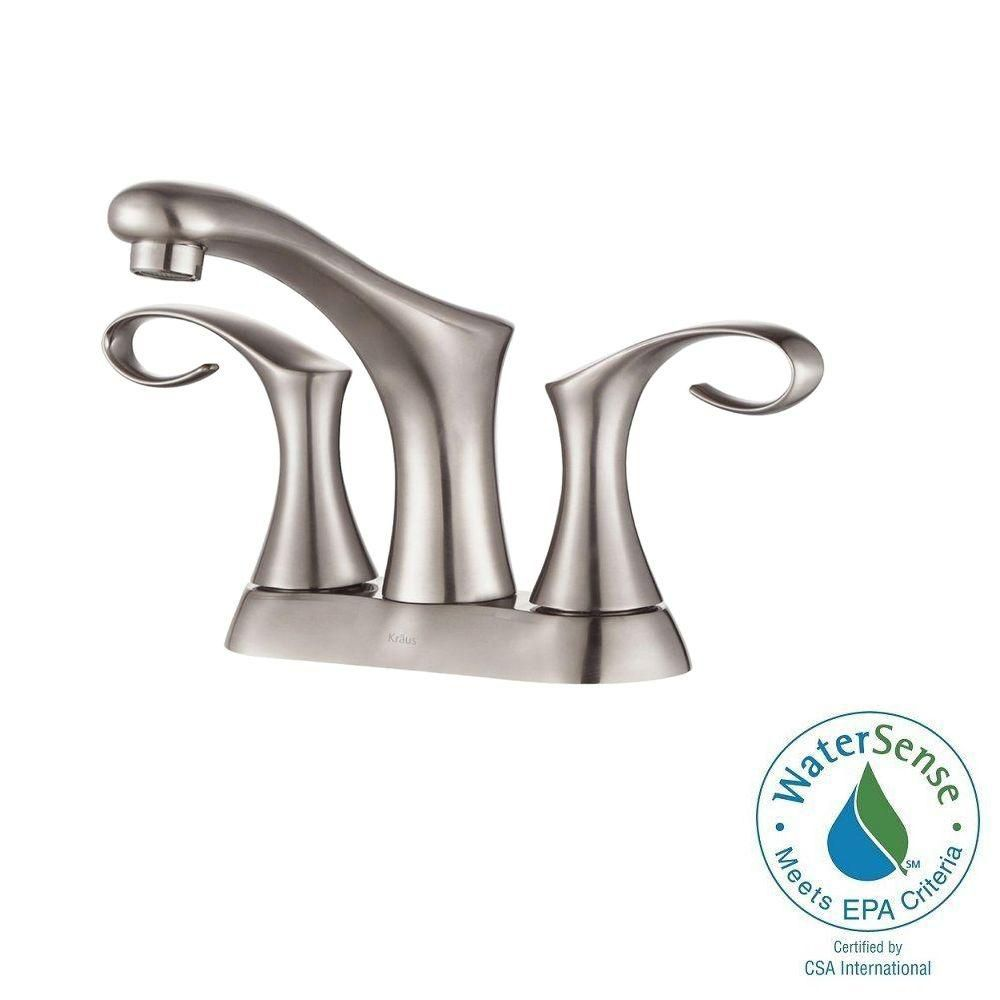 Cirrus 4-inch Centreset 2-Handle Bathroom Faucet in Brushed Nickel Finish