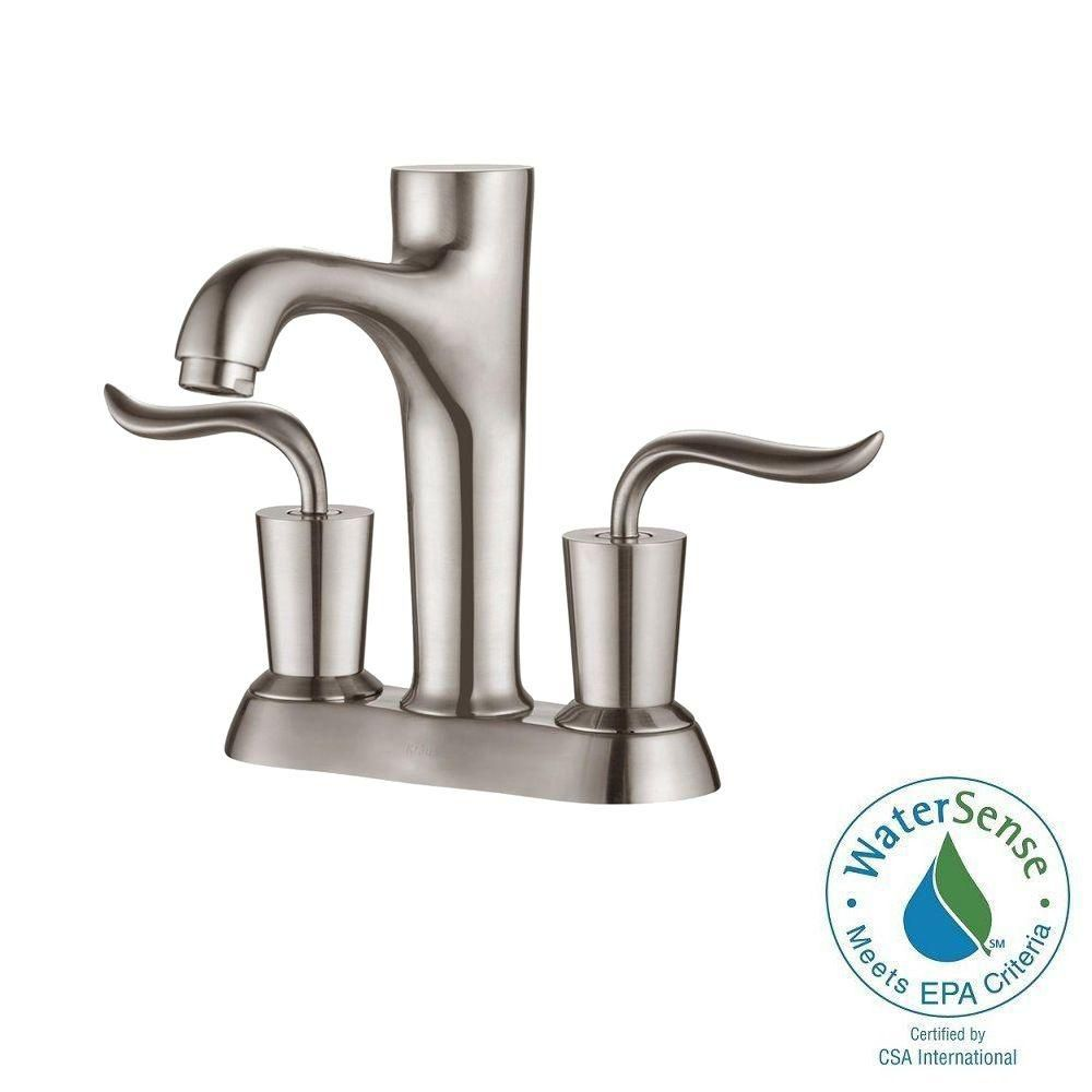 Coda 4-inch Centreset 2-Handle Bathroom Faucet in Brushed Nickel Finish