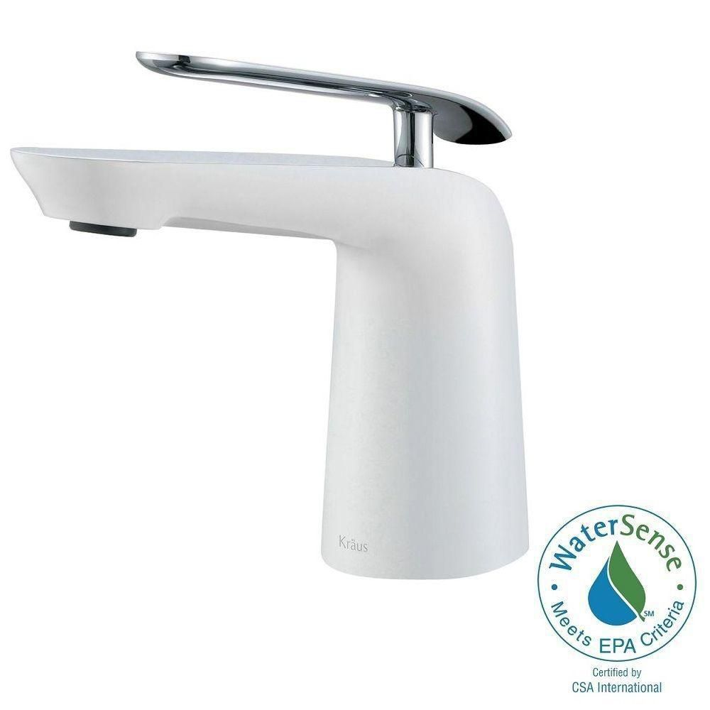Seda Single-Lever Basin Bathroom Faucet in Chrome-White Finish