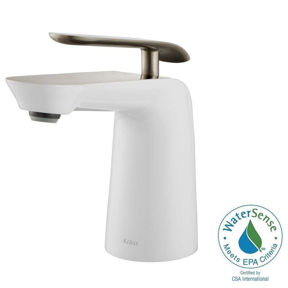 Robinet d'évier de salle de bain Seda à levier simple, nickel brossé et blanc