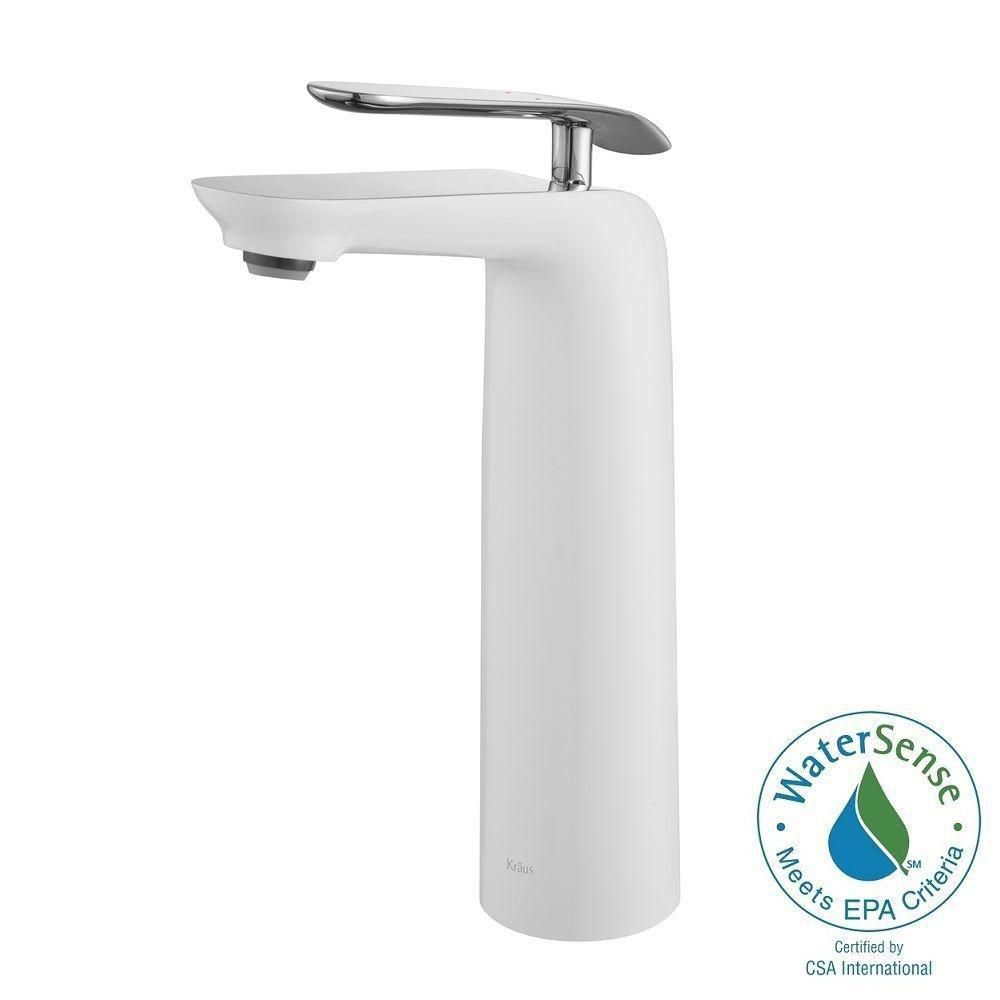 Seda Single-Lever Vessel Bathroom Faucet in Chrome-White Finish
