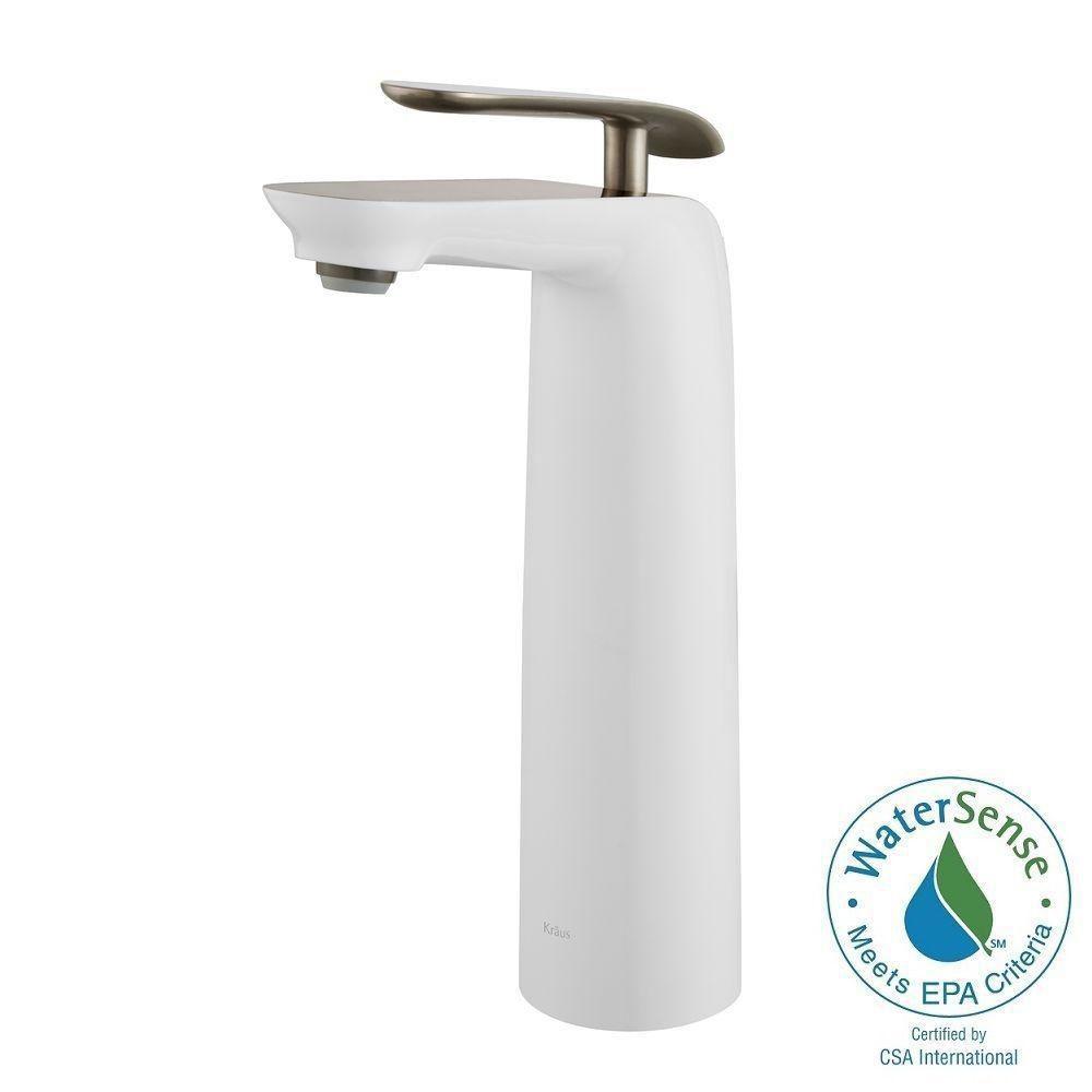 Seda Single-Lever Vessel Bathroom Faucet in Brushed Nickel-White Finish