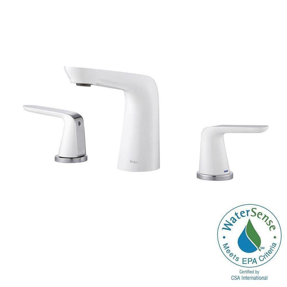 Seda 8-inch Widespread 2-Handle Bathroom Faucet in Chrome-White Finish