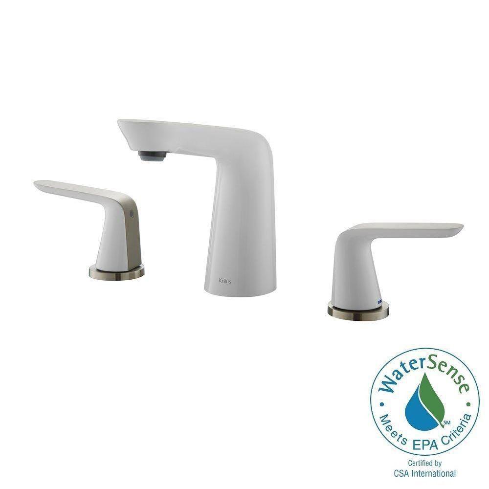 Robinet de salle de bain Seda espacé de 20,3cm (8po) à deux poignées, nickel brossé et blanc