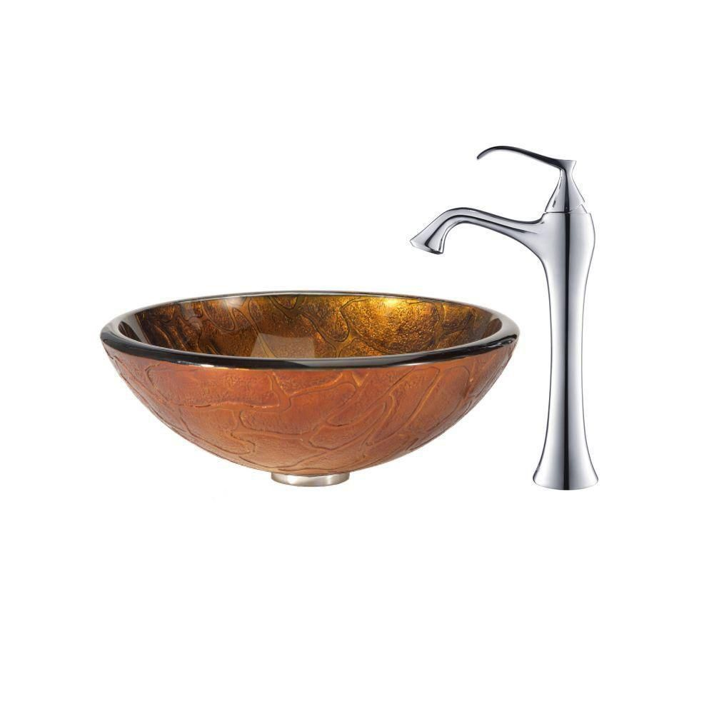 Triton Glass Vessel Sink with Ventus Faucet in Chrome