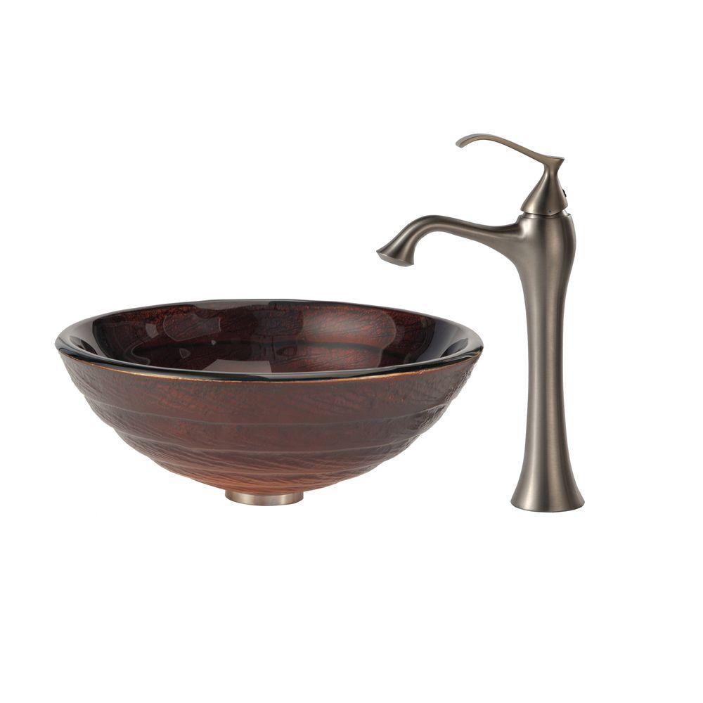 Iris Glass Vessel Sink with Ventus Faucet in Brushed Nickel