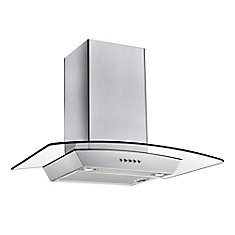 30 Inch 300 CFM Wall-Mount Glass Range Hood in Stainless Steel