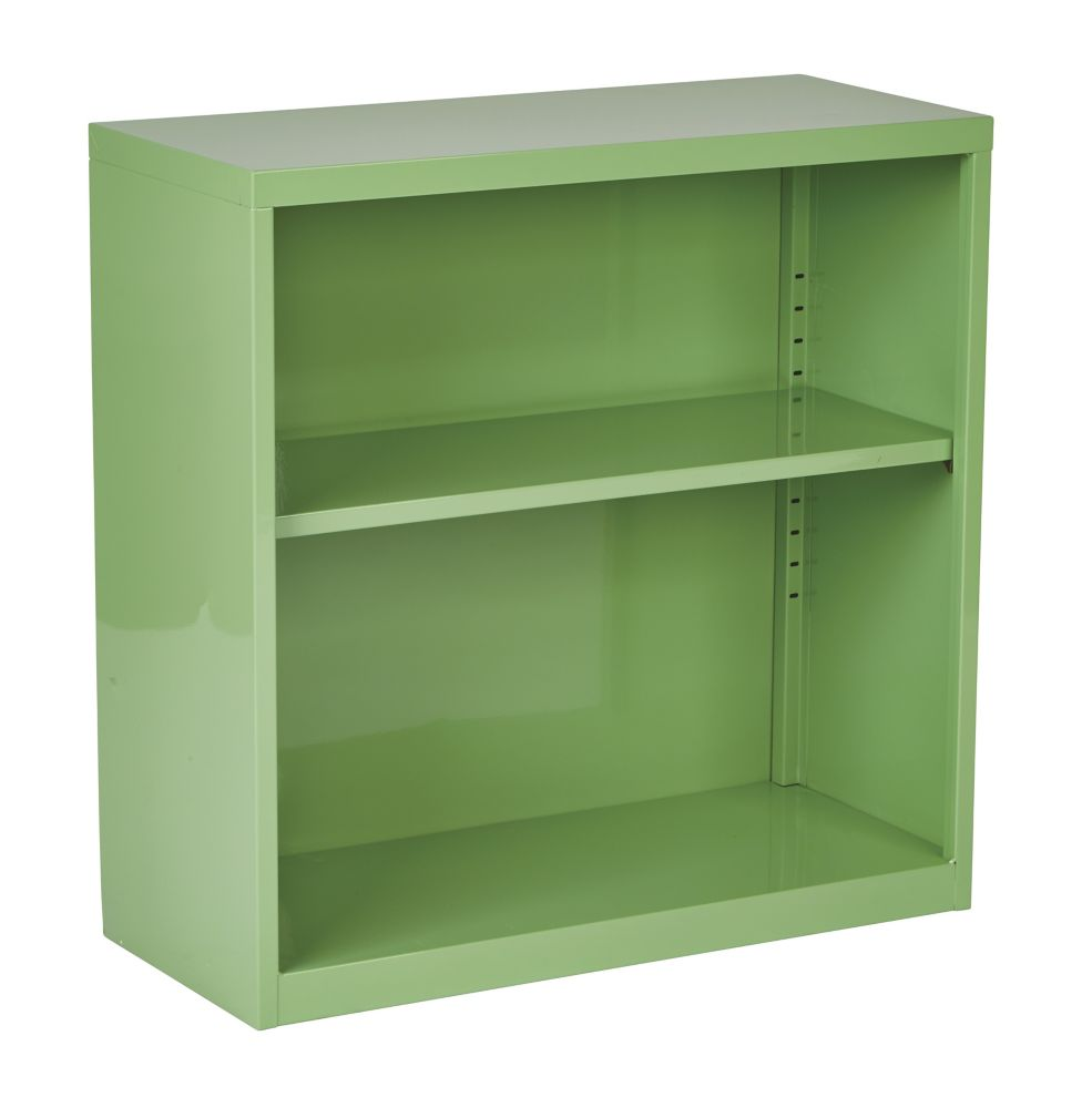28 Inch  Metal Bookcase Green