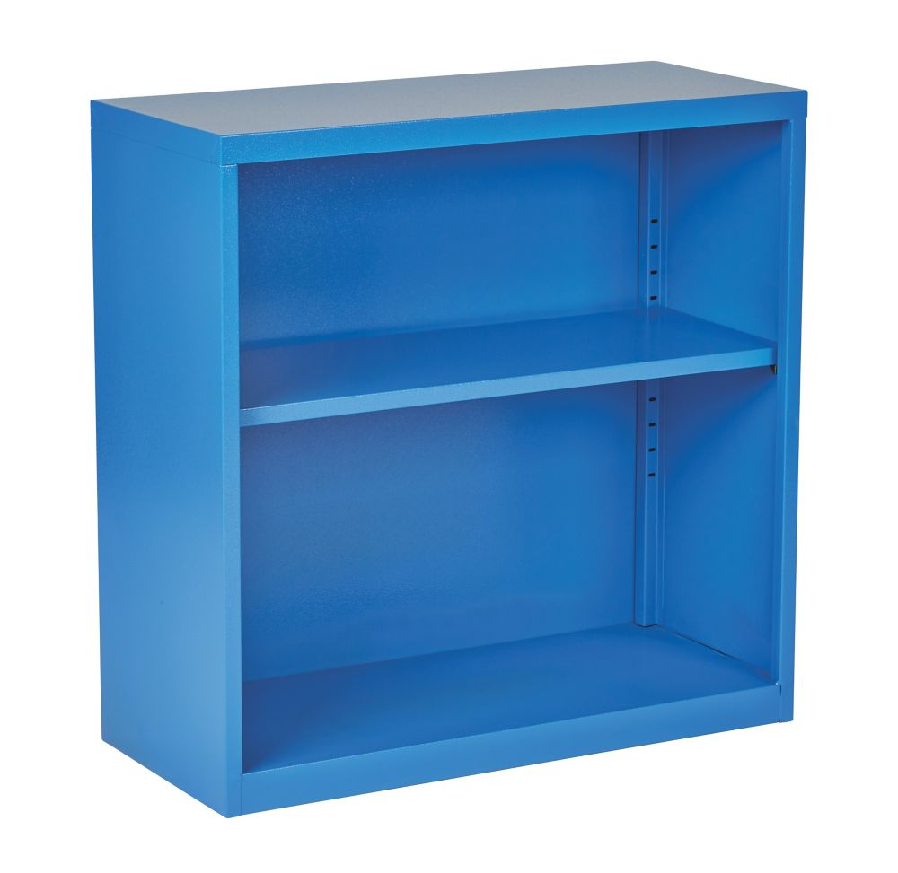 Office Star Products 28-inch x 28-inch x 12-inch Metal Bookcase in Blue