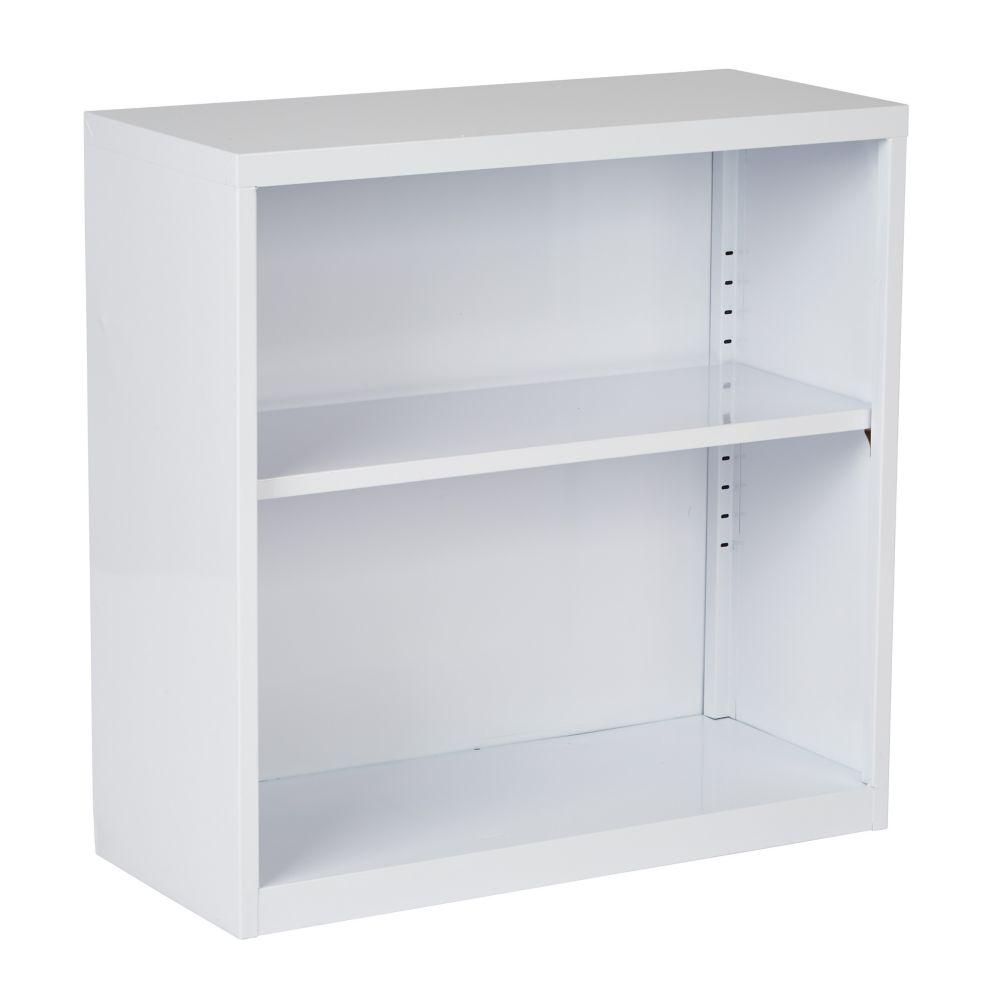 28 Inch  Metal Bookcase White