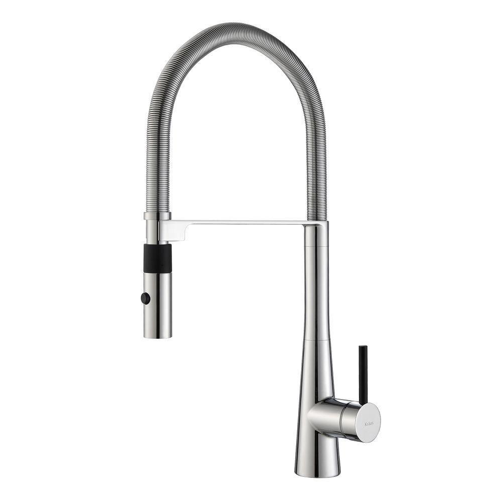 CrespoSingle Lever Commercial Style Kitchen Faucet W/ Flex Hose Chrome